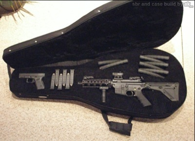 Secret Gun Compartment in Guitar Case