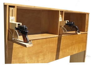 Secret Pistol Compartments in Bed Headboard