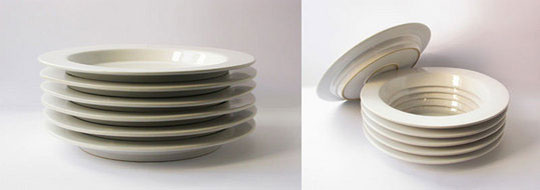 Stacked Dishes with Secret Compartment