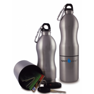 Hidden stash compartment water bottle