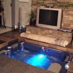 Hot Tub Installed in Floor by Fireplace