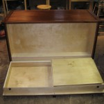 Fold down compartment in custom dresser
