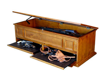 Secret compartment gun storage table stashvault for Long coffee table with storage