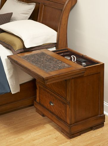 Sliding top secret compartment nightstand stashvault for Bedroom furniture gun safe