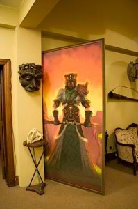 Large Painting Pivots to Become Door