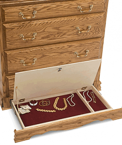Secret Lockable Drawer Compartment in Bottom of Chest