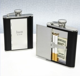 Flask with Secret Cigarette Compartment