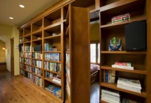 Custom Bookcase Door Conceals Hidden Room