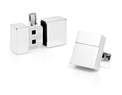 Stainless Cufflinks with Secret USB Storage