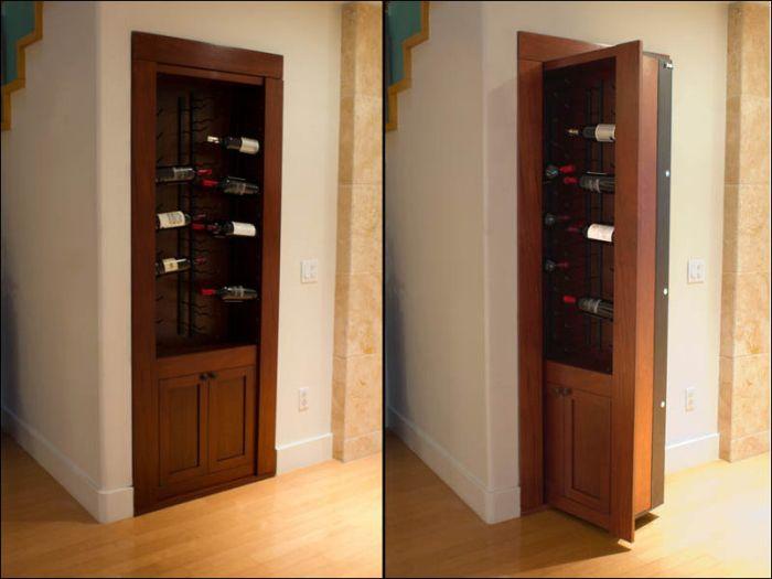 Hidden Room Entrance Behind Wine Rack