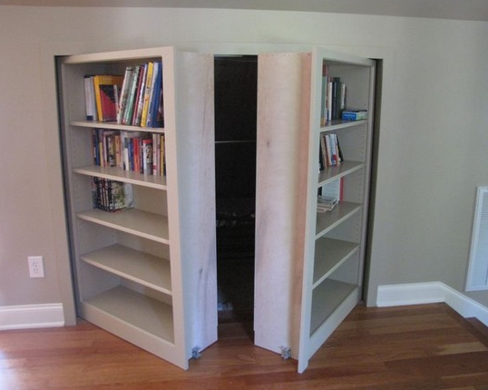 Double Bookcase Doors in Attic Space
