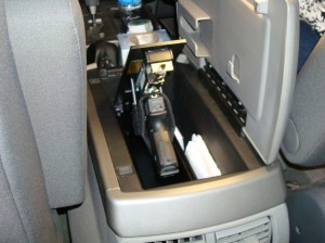 Pistol Safe Mounted in Truck Console