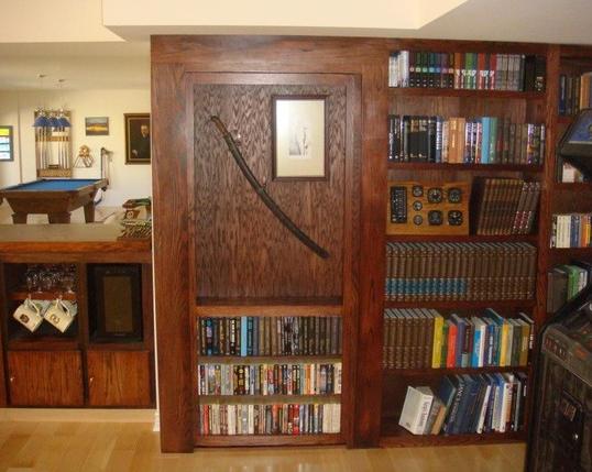 Secret Bookcase Door Conceals Room - InvisiDoor In Closed Position StashVault