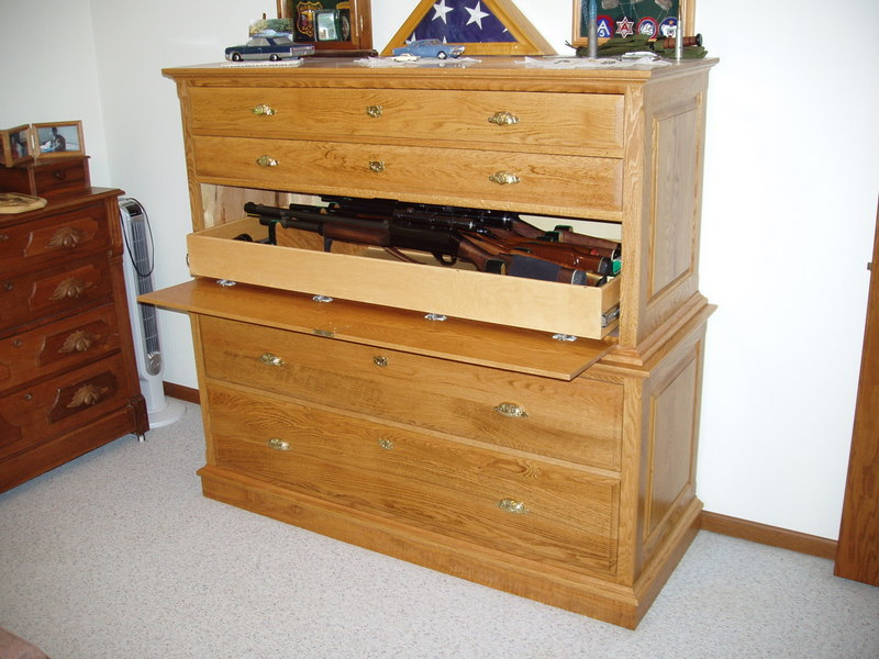 Gun cabinet concealed in dresser stashvault for Bedroom furniture gun safe