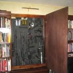 Gun Storage in Hidden Library Cabinet
