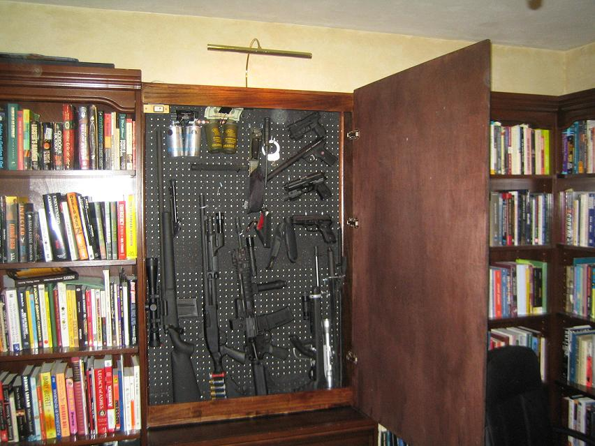 Secret gun compartment in office stashvault for Hidden gun room