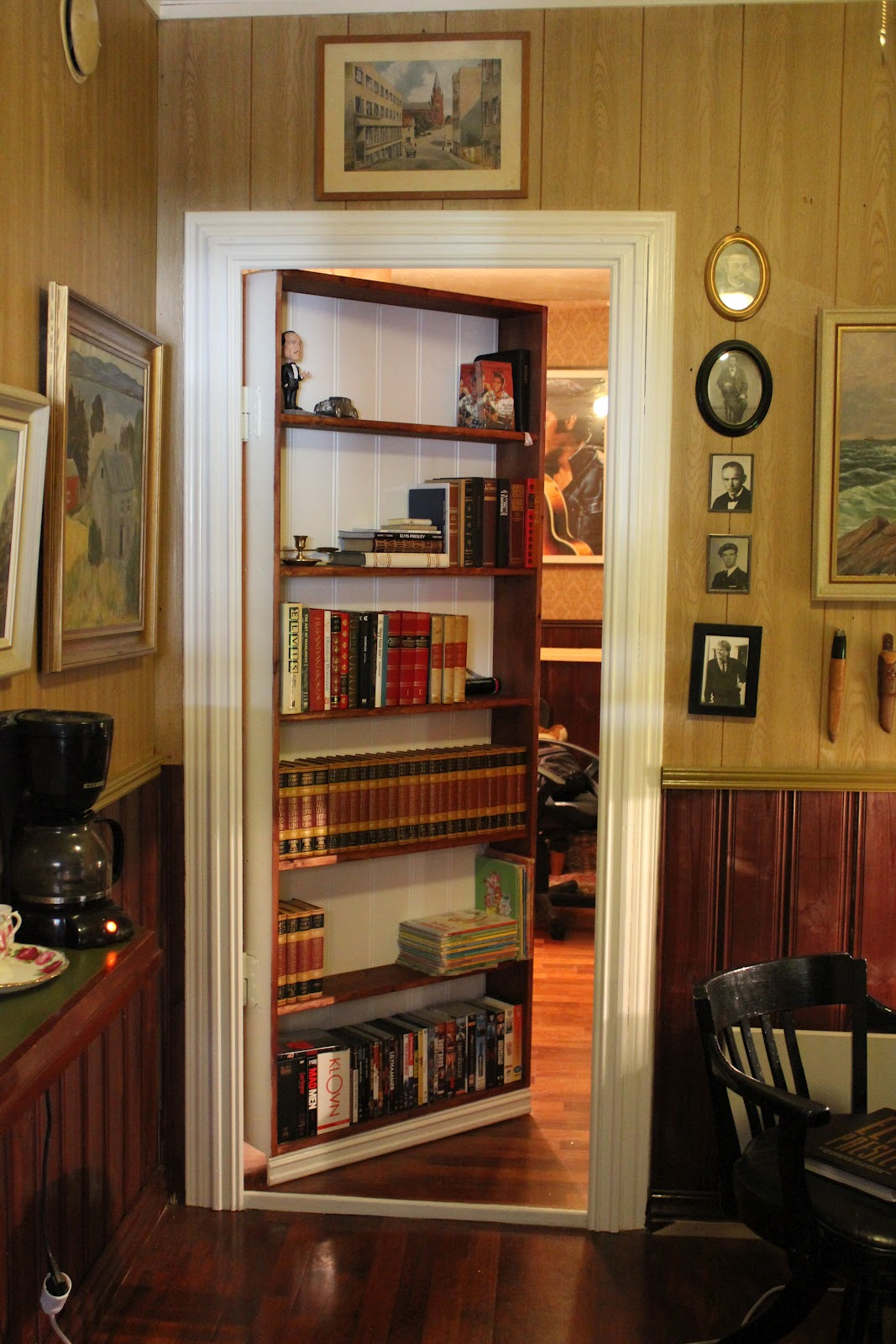 attic remodeling ideas stairs - Secret Room Behind Bookcase Door