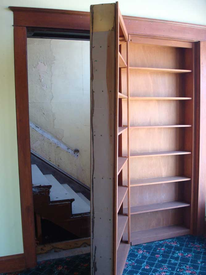 Moving Bookshelf Door Reveals Hidden Stairs