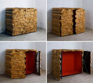 Stack of Wood Opens Up to Reveal Hidden Cabinet
