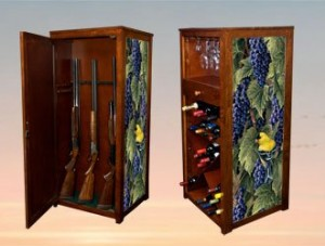 Hidden Long Gun Rack Behind Wine Storage