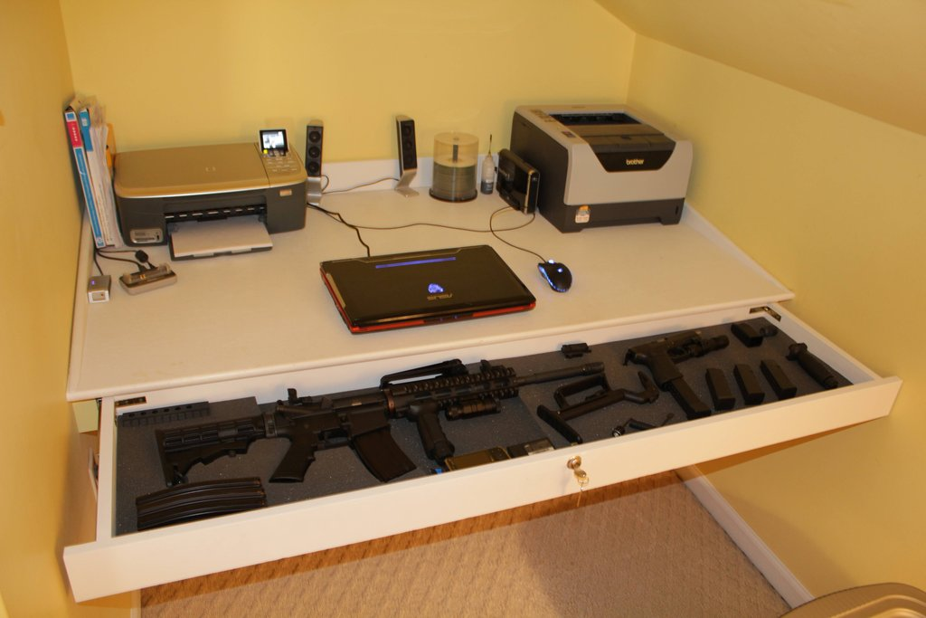 Custom Gun Storage Hidden in Table