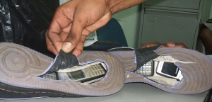 Mobile Phones Stashed in Secret Compartment of Shoe
