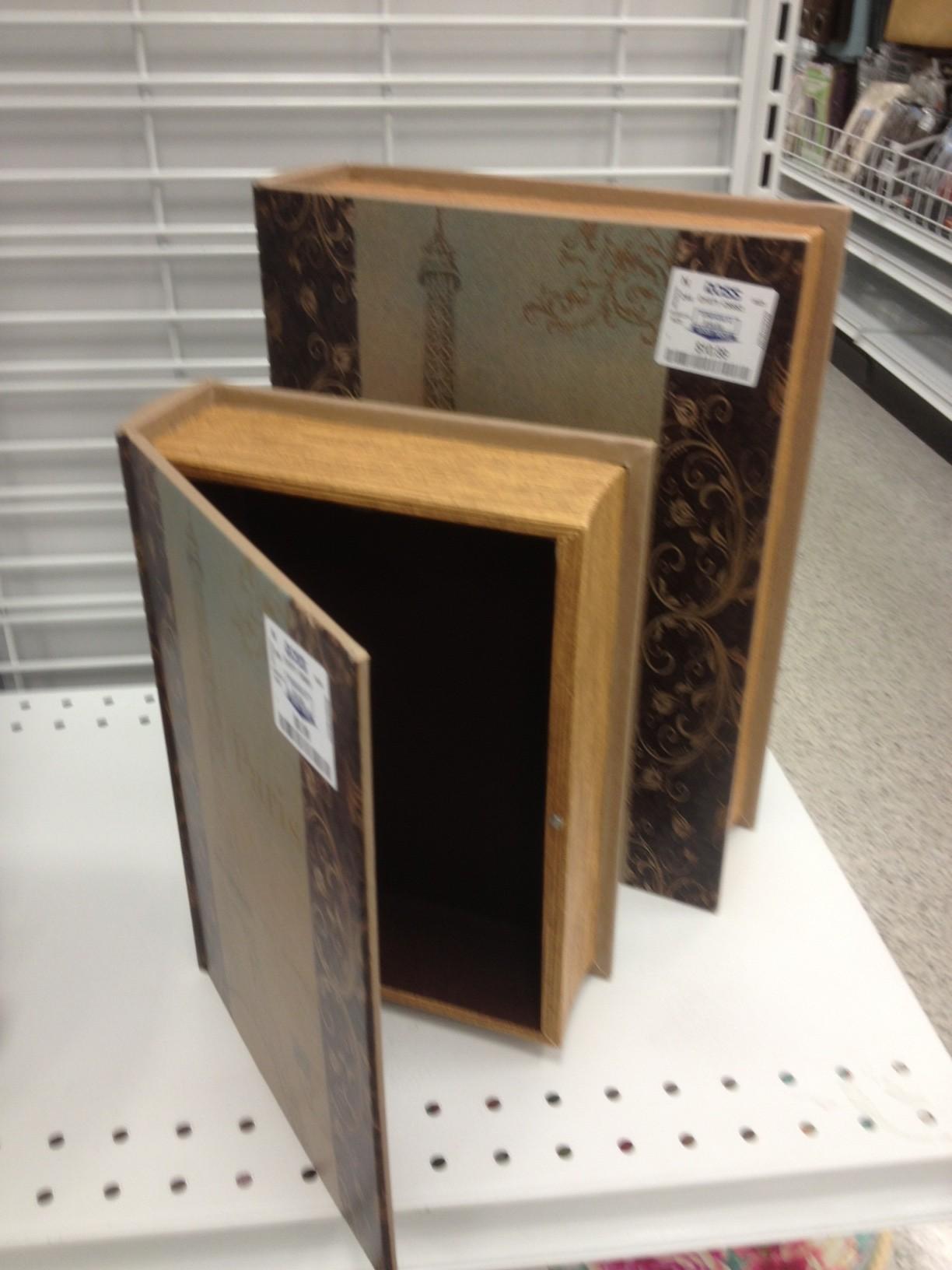 Hidden Compartment Inside Faux Wooden Book