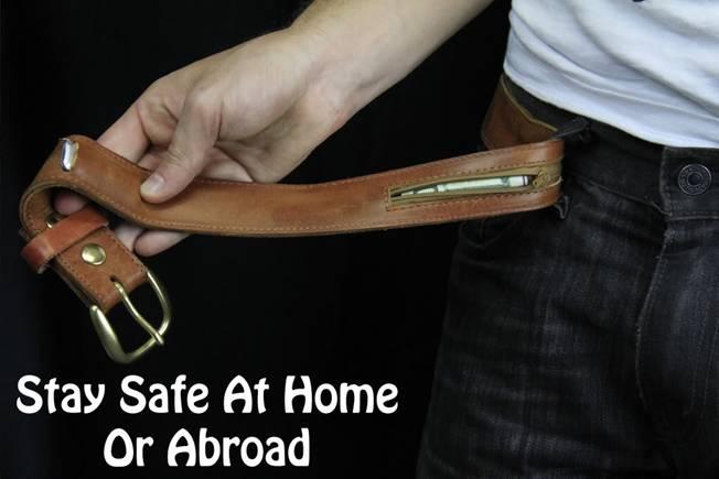 Hidden Zipper Pocket Compartment Belt