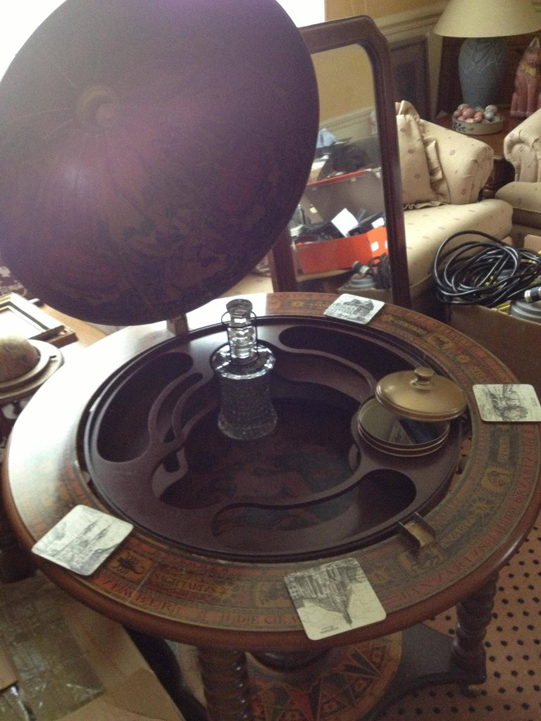 Antique Globe with Secret Mini-Bar Inside