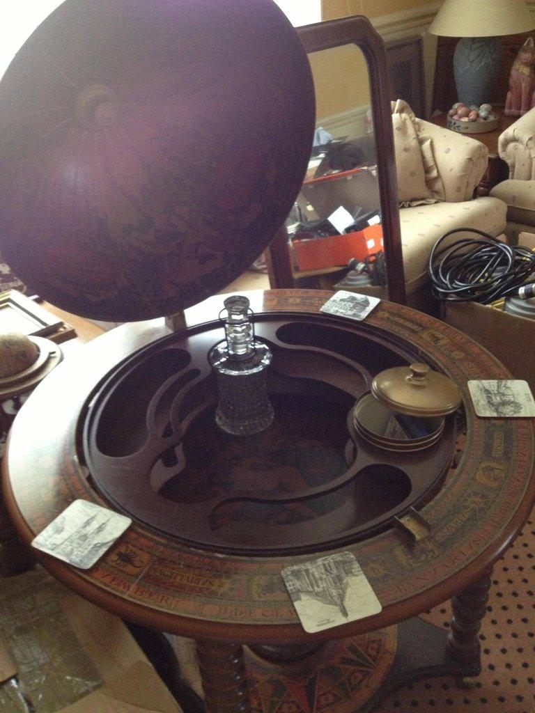 Antique Globe with Secret Mini-Bar Inside