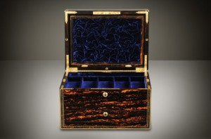 Antique Wooden Jewelry Box with Multiple Secret Compartments