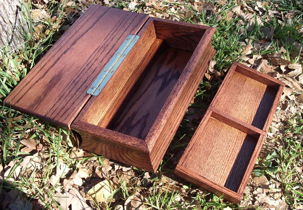 Wooden Jewelry Box with Hidden Compartment