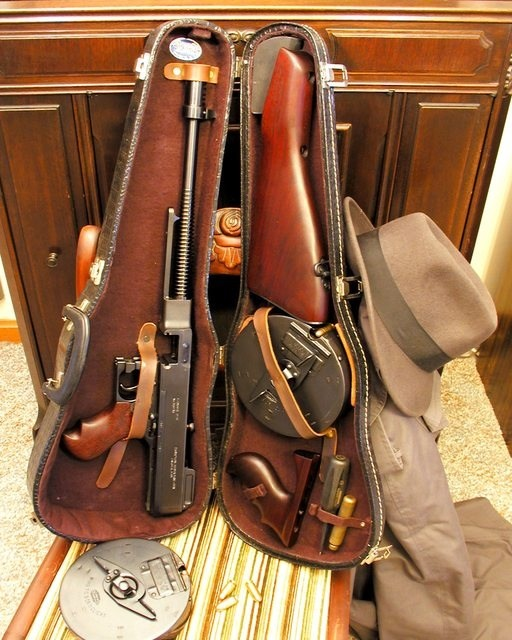 Tommy Gun Concealed in Violin Case