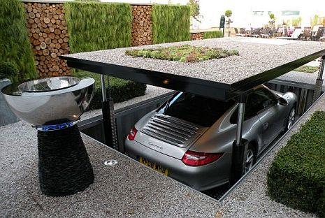 Garage Elevator Hidden Under Driveway