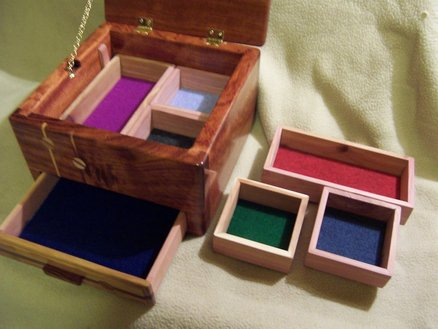 Multiple Compartments in Wooden Box