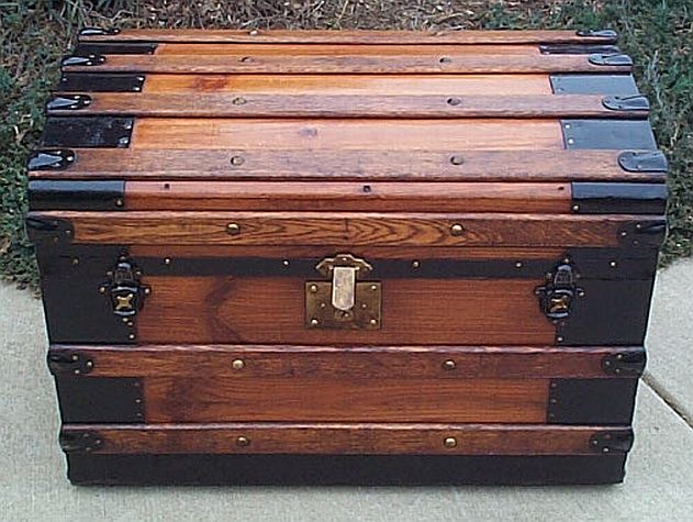 Antique Trunk with Hidden Storage in Lid