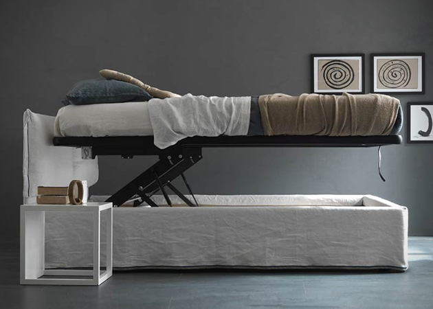 Vertical lift up bed secret storage stashvault - Lift up storage bed ...