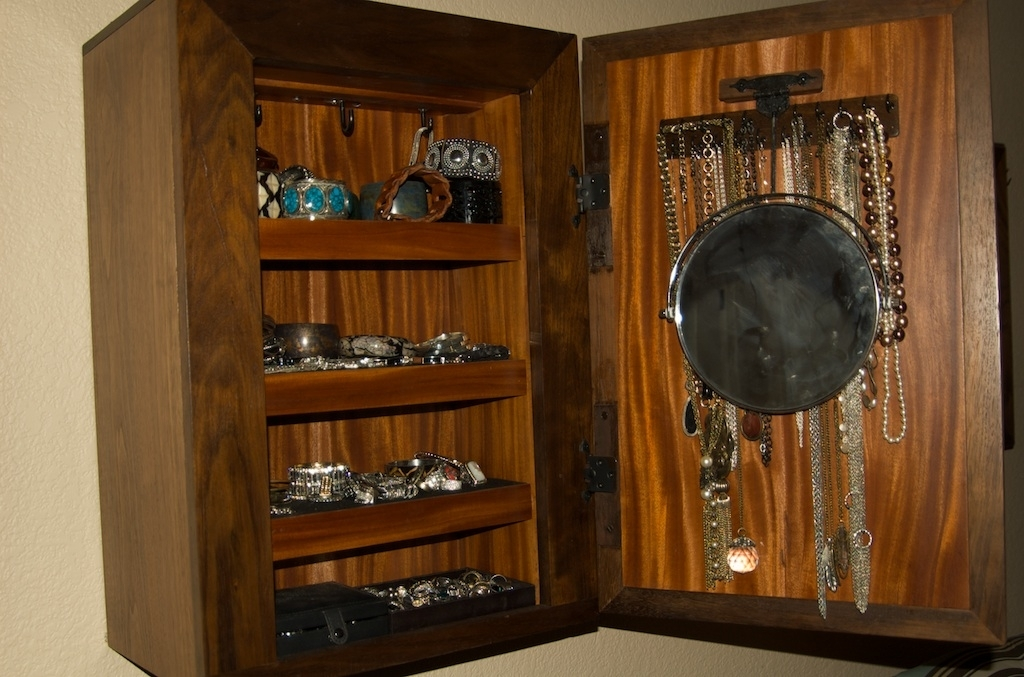 Wall Mount Jewelry Box with Secret Storage StashVault
