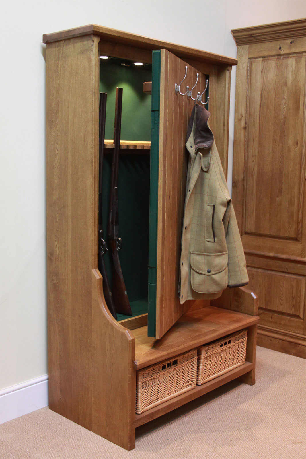 Concealed Gun Cabinet Bench/Coat Rack