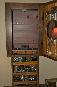 Wall Mount Jewelry Cabinet with Hidden Storage Compartment