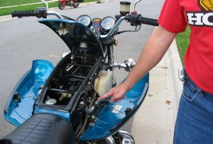 False Gas Tank on Honda Motorcycle