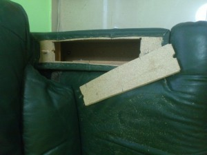 Hidden Storage Compartment in Arm of Chair