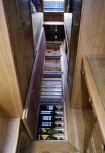 Under Floor Wine Storage in Boat