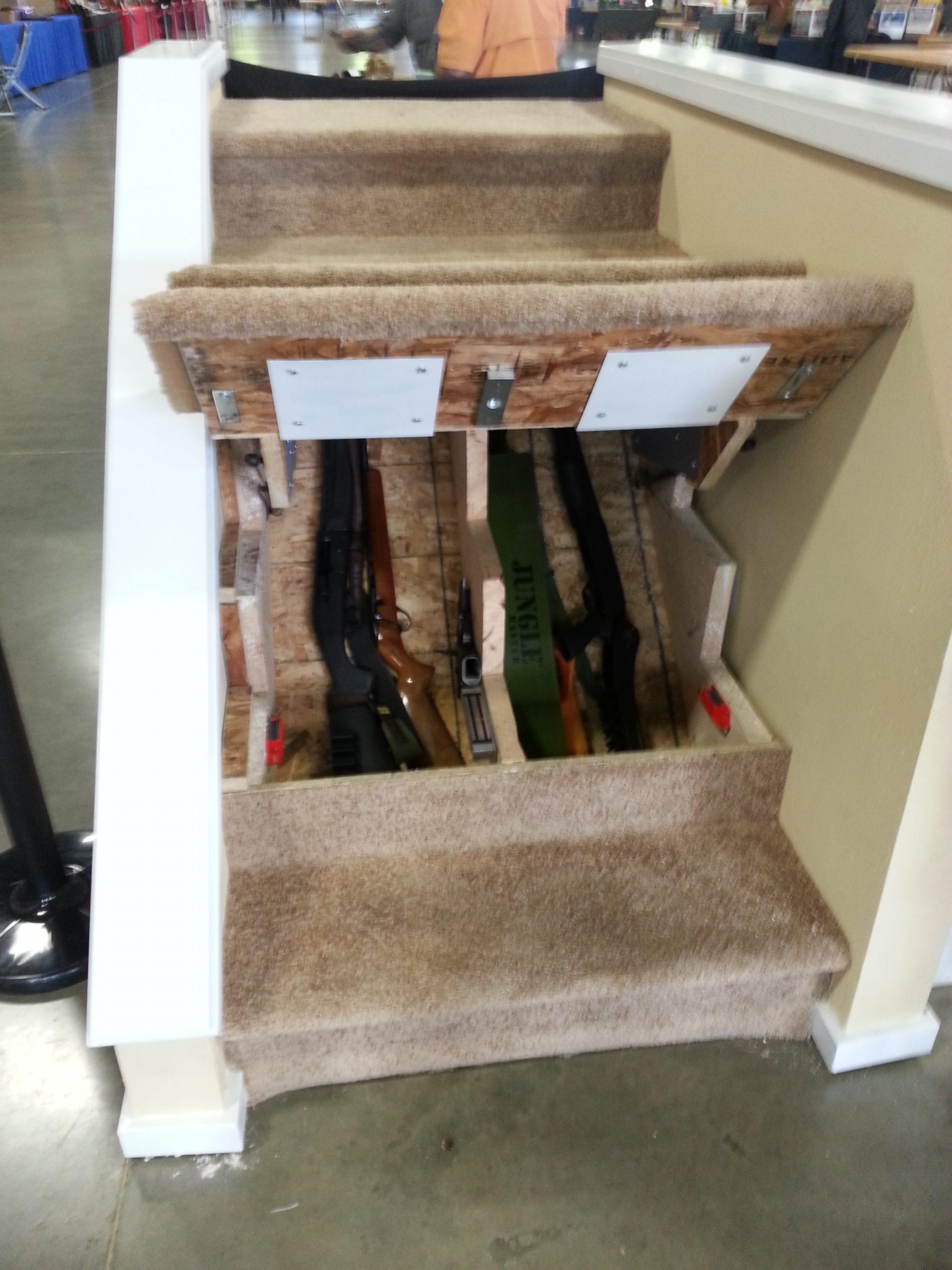 Hidden Gun Storage Under Stairs