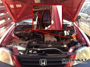 Magnetic Stash Box in Car Engine Bay