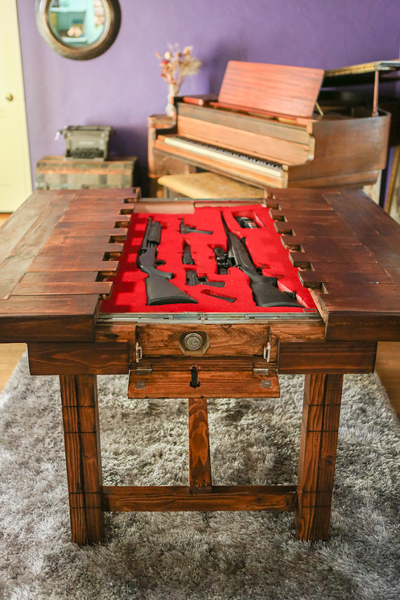 Wooden Table with Concealed Gun Storage
