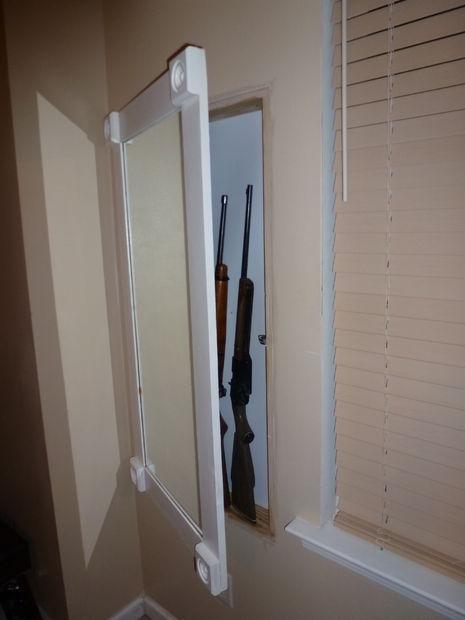 Secret Gun Storage Behind Mirror