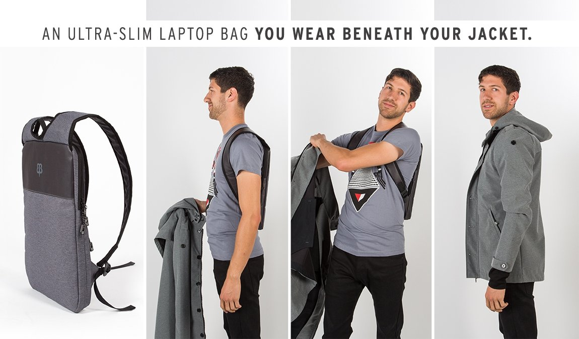 Thin Backpack Hides Laptop Under Jacket
