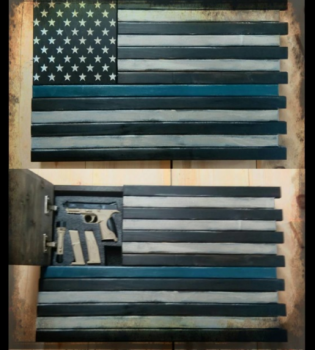 "Pistol and Magazines Hidden in ""Thin Blue Line"" Wall Hanging"