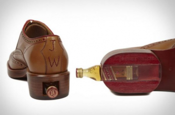 Heel of Leather Shoe Holds Whiskey Bottle